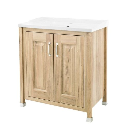 Rockingham Natural Walnut 800mm 2 Door Cabinet & Basin